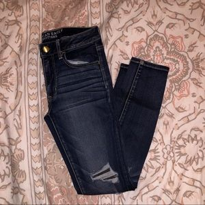American Eagle Faux Distressed Dark Wash Jeans